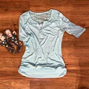 Soft blue crochet shoulder top